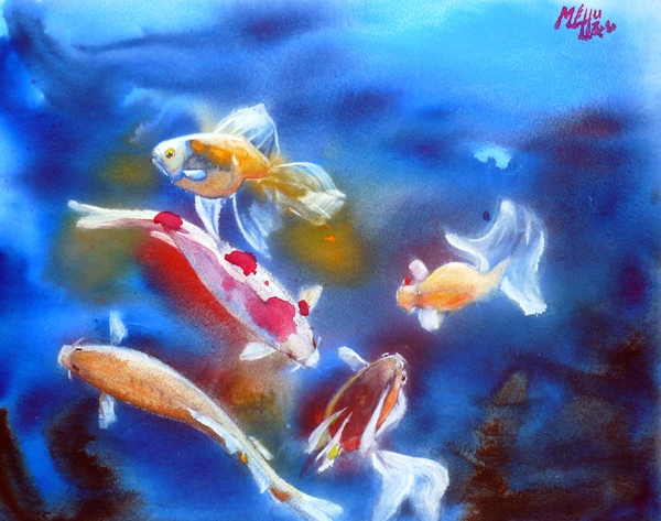 Andr m hu aquarelle aquarelle carpes ko et poissons rouges for Poisson koi aquarium